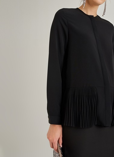 People By Fabrika Plise Detaylı Gömlek Siyah